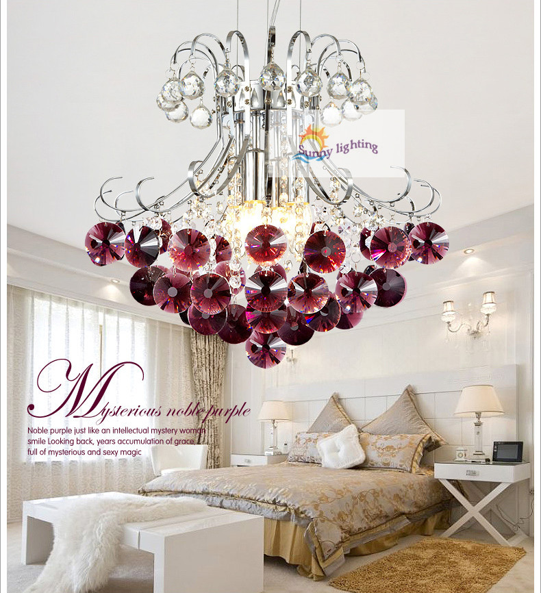 Bar Purple Crystal Light Red Crystal Pendant Lamp Coffee Shop Bedroom  Modern Pendant Lights Dining Room Kitchen Indoor Lighting In Pendant Lights  From ...