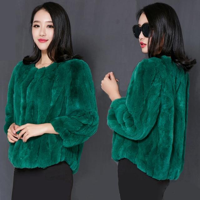 2017 New autumn and winter natural rex rabbit fur coats women O neck long slim fur coat outerwear plus size free shipping