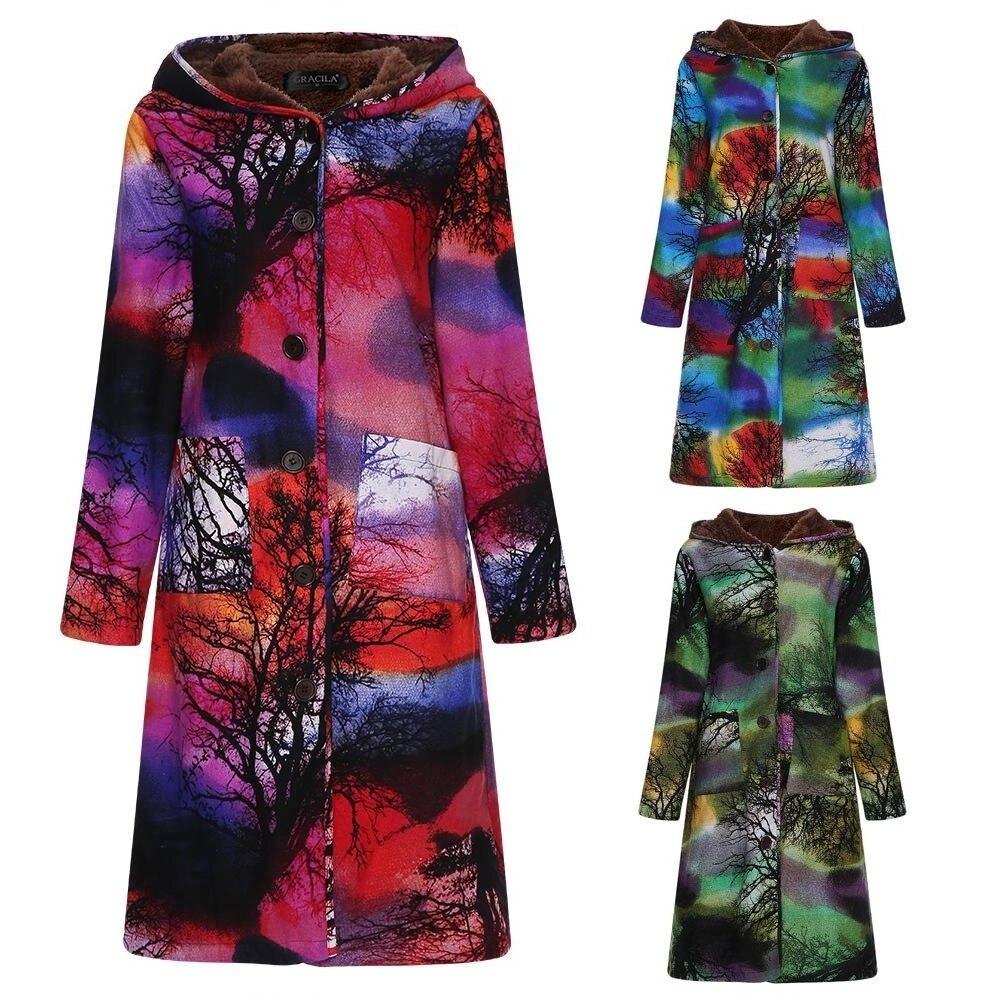 New Winter Jacket Women 2019 Plus Size Hoddies Velvet Coat Female Vintage Ink Print Cotton And Linen Thick Warm Long   Parkas   5XL