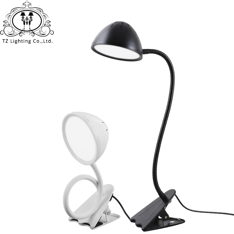 TZ Bright Usb LED Clip Table Lamp Flexible Gooseneck Desk Book Light For  Book Reading Bed Study Desktop Office 5DV 10W Aluminum