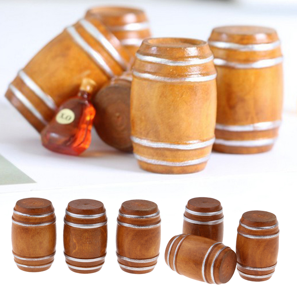 6 Pieces 1/12 Dollhouse Miniature Vintage Beer Barrel Model Micro Landscape Decoration