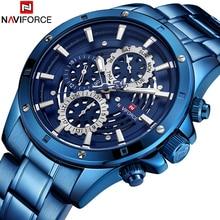 NAVIFORCE 2018 אופנה קוורץ שעון Mens למעלה מותג יוקרה זכר שעון עסקי שעון יד כחול מלא פלדת Relogio Masculino