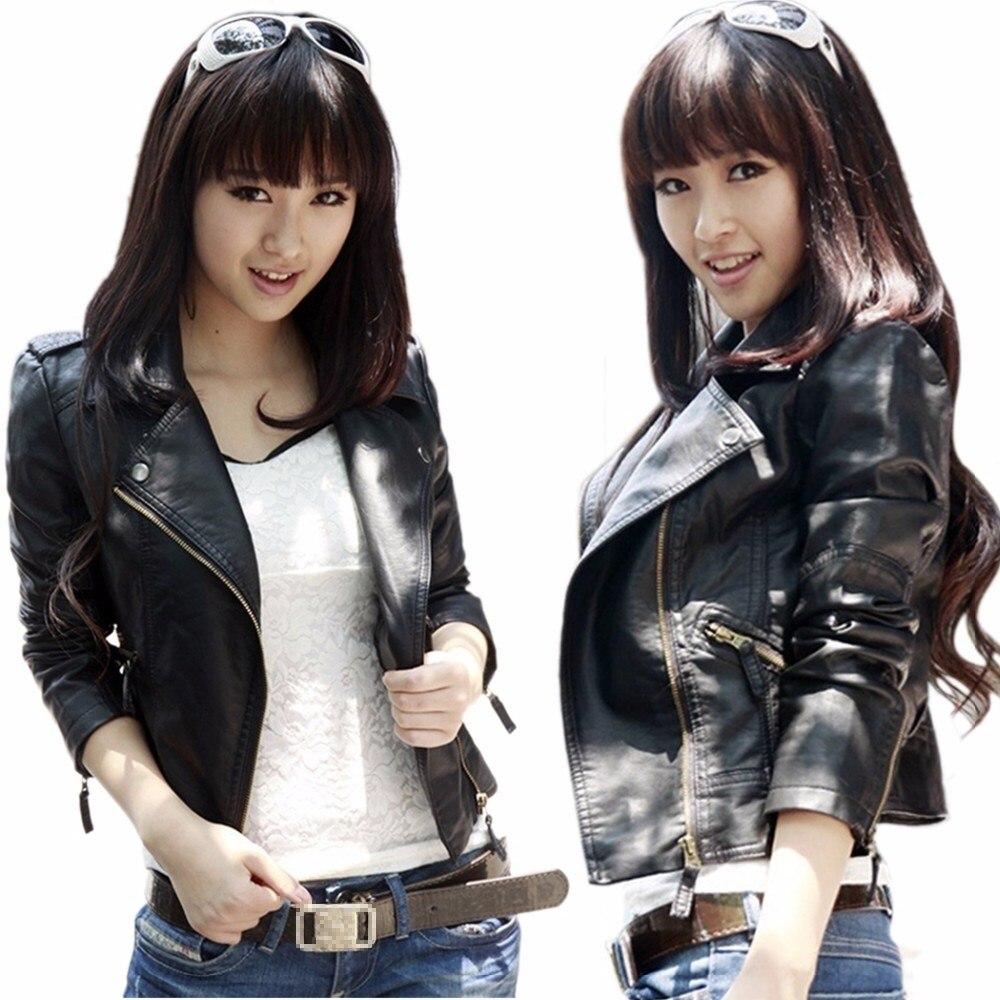 Autumn Winter Long Sleeve Women   Leather   Coat Motorcycle Jacket Full Female Lady Outerwear Suit Clothing Bolero Femme