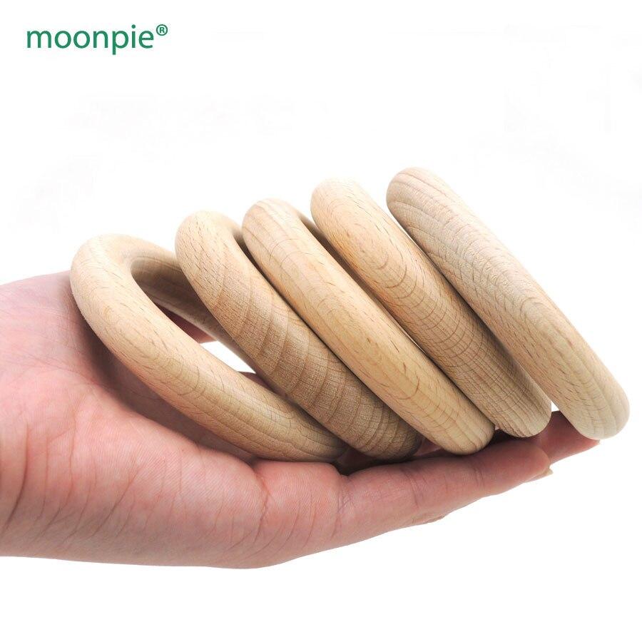 Free shipping 100 pcs 70mm DIY Natural beech Ring Teething Ring round beech Wood rings super