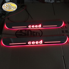 цена на SNCN 4PCS Acrylic Moving LED Welcome Pedal Car Scuff Plate Pedal Door Sill Pathway Light For Kia Ceed 2015 2016 2017 2018