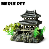 MERLE PET Chinese Architecture Landscape Rockery Ornaments Aquarium Decoration Fish Tank Cave Accessories Free Shipping G07074