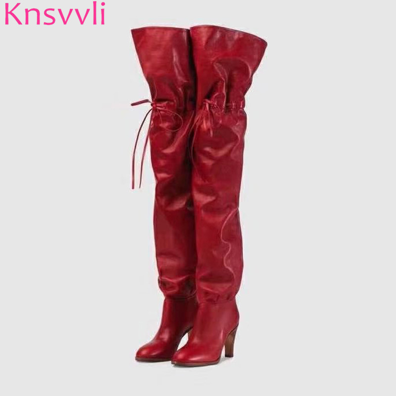 Autumm genuine leather over the knee boots women round toe lace up thigh high boots woman black red high heel botas mujerAutumm genuine leather over the knee boots women round toe lace up thigh high boots woman black red high heel botas mujer