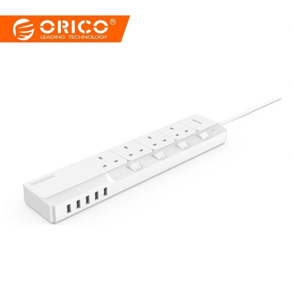 ORICO OSJ-4A5U-UK домашний офис Великобритания стабилизатор напряжения с 5 USB зарядное устройство 4 британский стандарт вилка переменного тока муль...