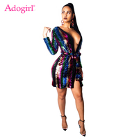 Adogirl Colorful Stripe Sequins Cardigan Asymmetric Dress Wrap V Neck Long Sleeve Bodycon Mini Club Party Dress Robe with Belt