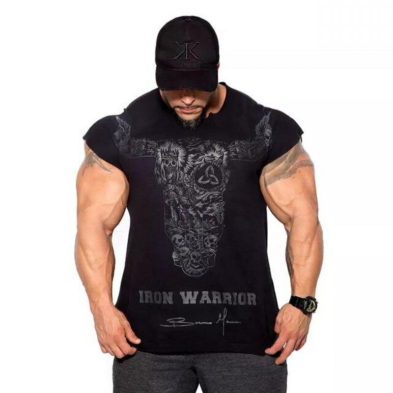 2018 neue Turnhallen Männer Bull kopf Sommer Bodybuilding und Fitness Mens Unregelmäßiger rand EISEN KRIEGER Kurzarm T-shirt T-shirt