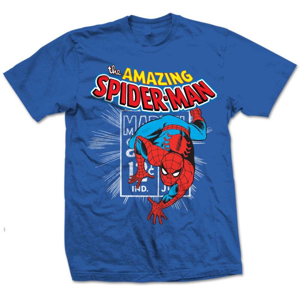 Amazing Spiderman Stamp Homecoming Spidey Marvel Comics Blue Mens T-shirt Hot Sale Men T Shirt Fashion