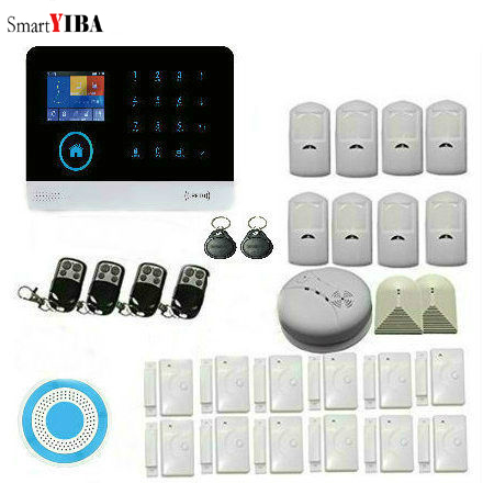 SmartYIBA WiFi GSM Wireless Home Intruder Burglar Alarm Security With Somke/Glass Break PIR Detector door Sensor Alarm System alarm systems security home wireless ip camera wifi hd 720p intruder alarm house burglar kit door sensor pir detector cctv siren