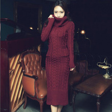 2017 Korean women dress slim long twist turtleneck sweater knitted winter dress thickening