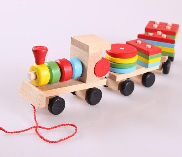esencial educativos juguetes de madera para nios de la geometra de madera de apilamiento tren bloques