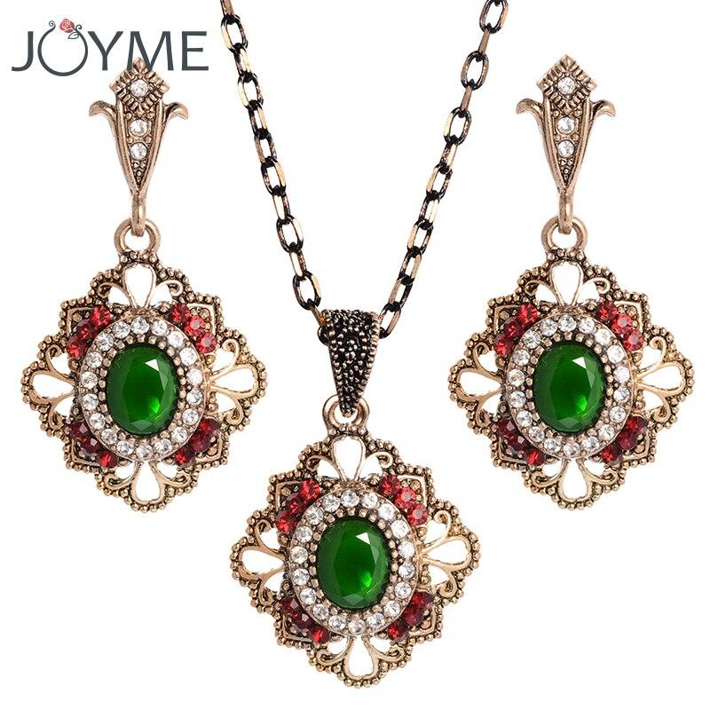 Vintage turecké svatební šperky sady pro ženy s přívěskem imitace afrických tibetských křišťálových náhrdelníků náušnice sada šperků Nové