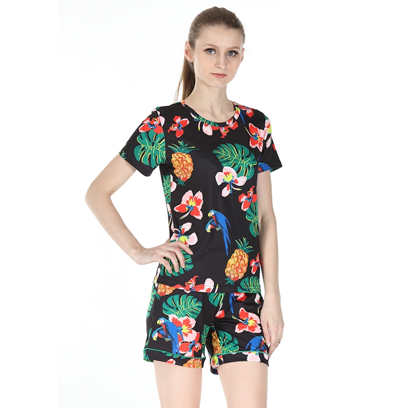 Fitness Women Sets Clothes Print Two Piece Set Summer Floral Crop Tops And Short Pants Female Casual Cotton Sweat Suits