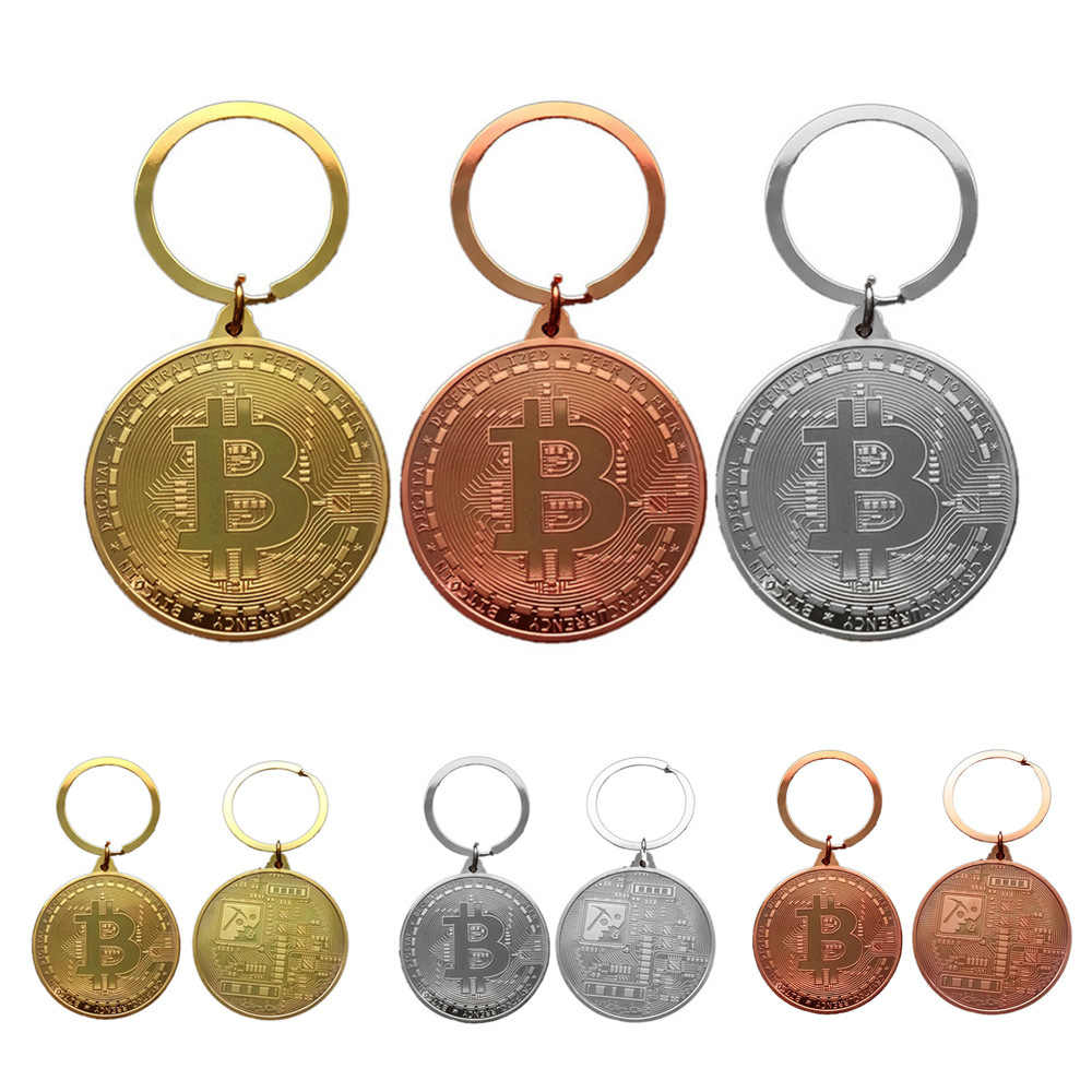 BTC Coin Key Chain Bitcoin Pendant Metal Keychain  Gold Black Silver Halloween Cos Kid New Year Holiday Christmas Birthday Gift