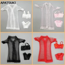 4sets/lot Doll Accessories Sexy Pajamas Lingerie Nightwear Lace Long Coat Night Wear + Bra + Underwear Clothes For Barbie Dolls(China)