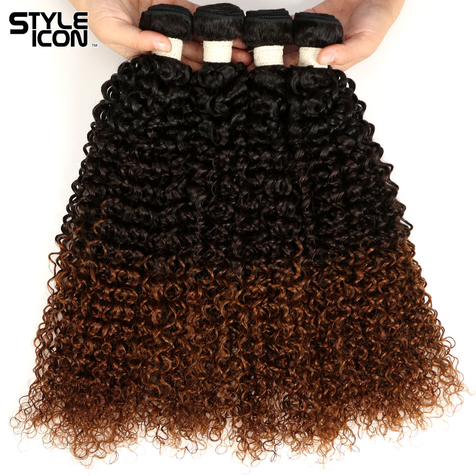 Special Section Styleicon Curly Wave Bundles 1b/4/30 Peruvian Kinky Curly Hair Bundles Colored Three Tones 100% Remy Human Hair Extensions Punctual Timing Hair Extensions & Wigs