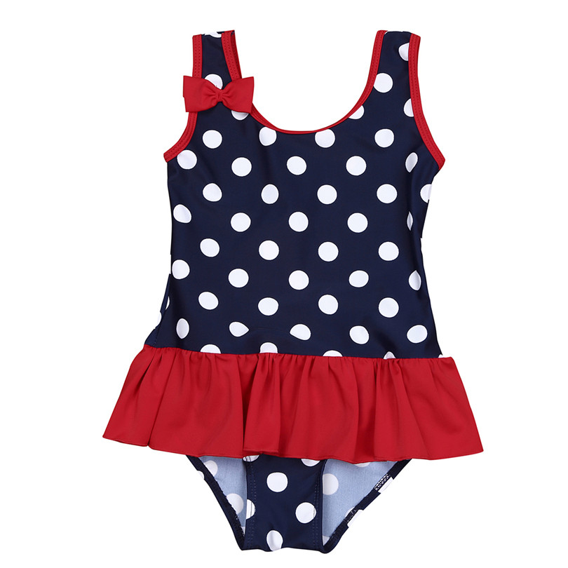 Kids Girls 1Pcs Striped Swim Dress Beach Polka Dots Swimsuit Tutu Skirt Swimwear