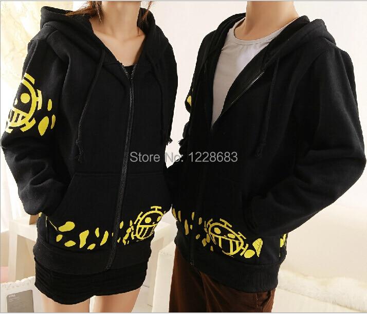 Hot Sale Japanese Anime Cosplay Clothes One Piece Trafalgar Law Cosplay Costume Black Trafalgar Law Hoodie Jackets Coat