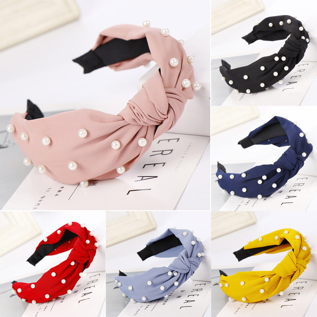 Korea High Quality Hair Accessories for Women Mesh Yarn Pearl Beaded Lovely Hairband Flower Bows Double Knot Wide Headband @3
