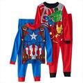 4 - 10 anos 1 set/lote COMICS meninos outono inverno quente pijamas pijamas ternos trajes crianças crianças
