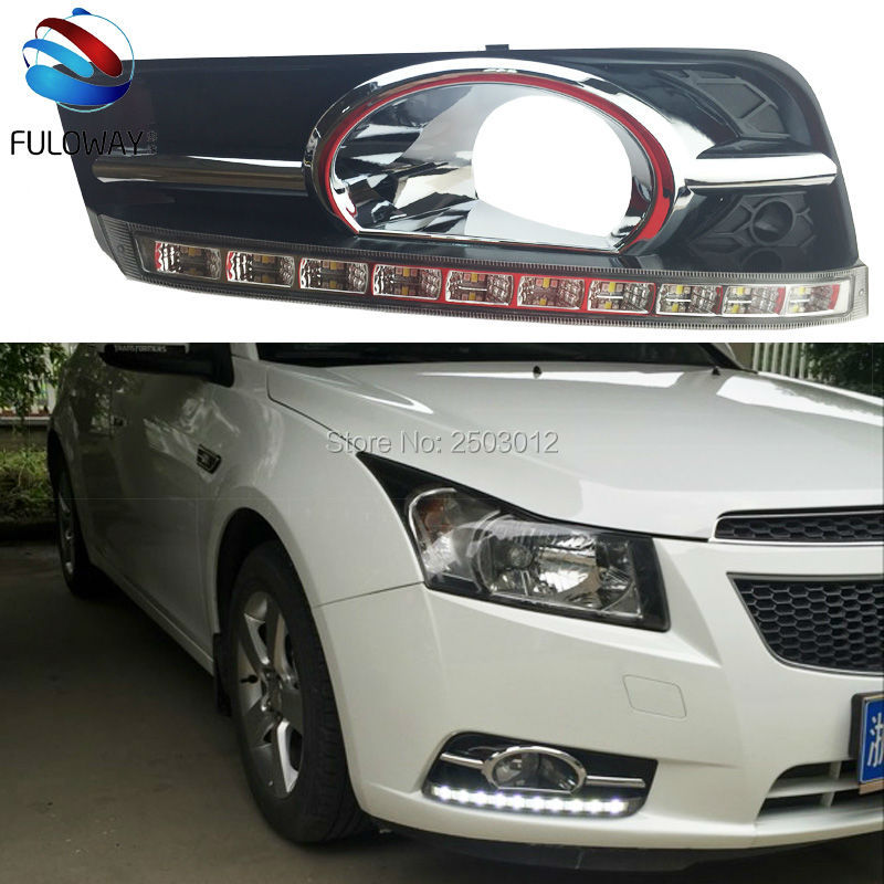 ФОТО Turn Signal & Dimmer Lights Car DRL LED Daytime Running Lights 12V Front Fog Lamp For Chevrolet Cruze 2009 To 2014 Car-Styling