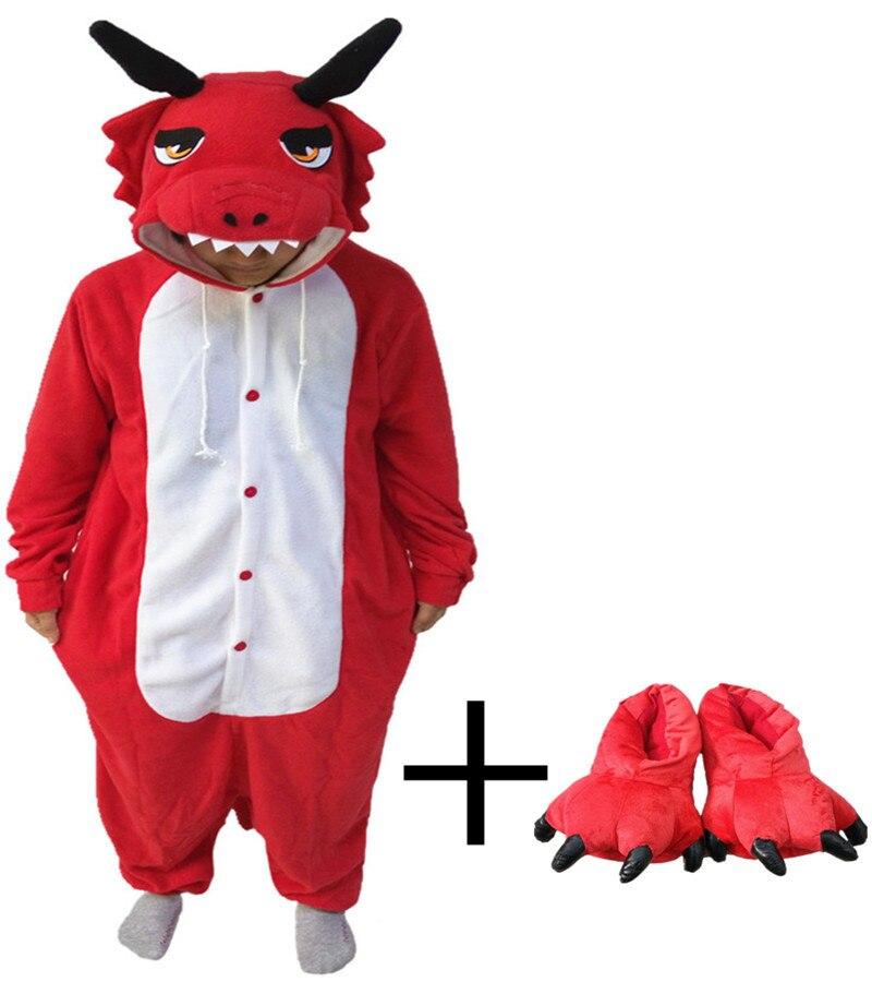 Red Dragon Onesie Paw Shoes Winter Cute Animal Pajamas Cosplay Jumpsuit  Pyjamas a6311e2be