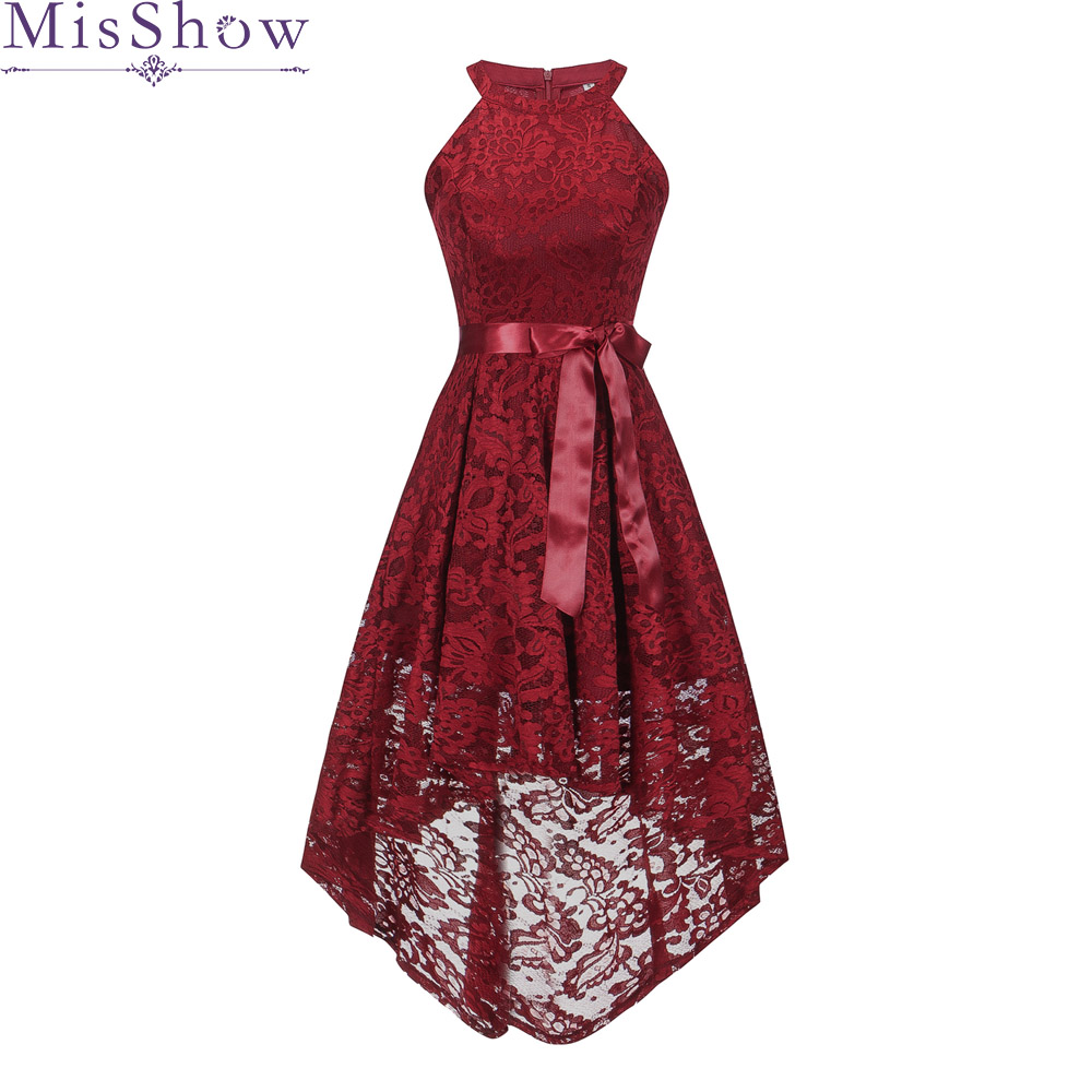 High Low   Cocktail     Dresses   Simple A-Line lace Cute Women 2019 Vestidos Sexy Women Halter Short Front Long Back   Cocktail     Dresses