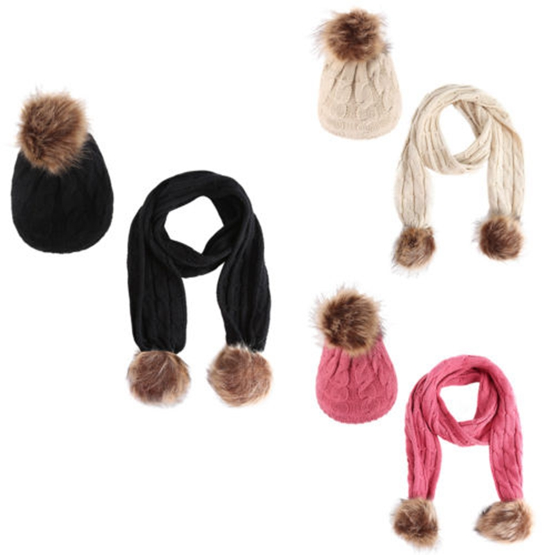 Winter Baby Warm Toddler Crochet Knit Pompom Hat And  Cap Beanie Scarf Set 1 To 6 Years