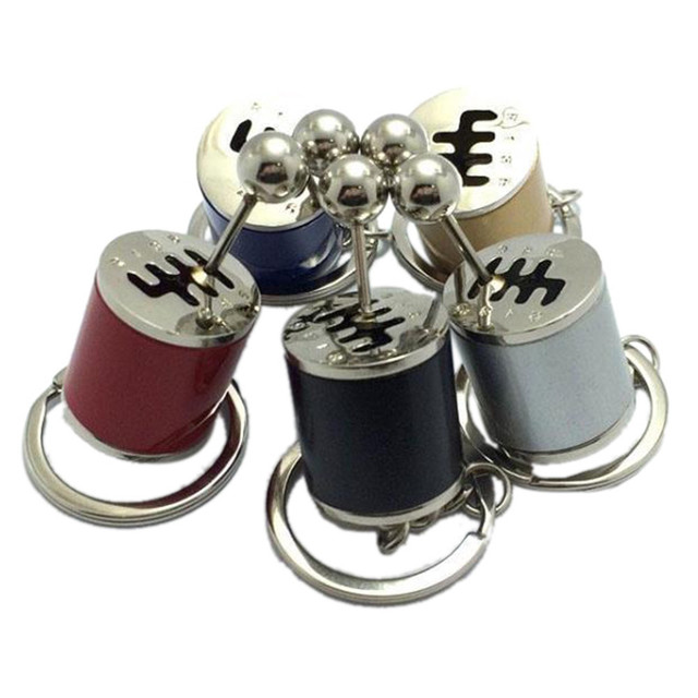 Car Keychain Gear Shift Knob Type Car Modified Key Ring Auto Metal Key Chain Keyring car-styling Red Yellow Silver Blue Black