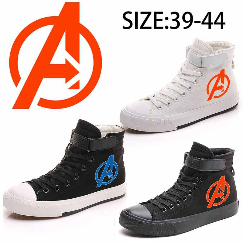 Marvel Avengers Printing Pattern High Top Breathable Canvas Uppers Sneakers Men VelcroShoelace Customized Student Shoes A19525