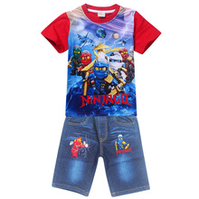 Summer Ninja clothes Ninjago Baby Boys Sets T-shirt Shirts+shorts Jeans Cartoon Printed Pokemon Go Batman Kids Boy Sportswear