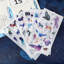 6papers/lot Creative DIY Cute Kawaii Decoration Stickers Cartoon Dog Cat Moon Elk Animal Sticky Scrapbooking Student Photo Album