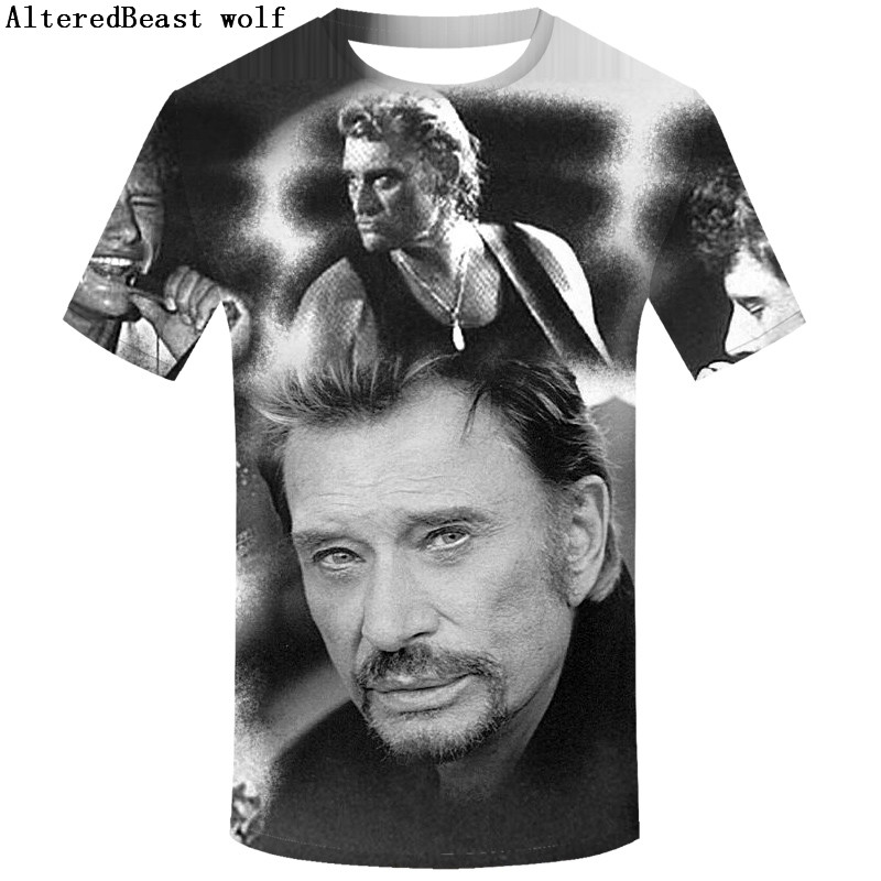 Johnny Hallyday French Elvis Presley 3d   T     Shirt   Short Sleeve Clothesfunny New Rock O-neck tees   Shirt   homme For Boys