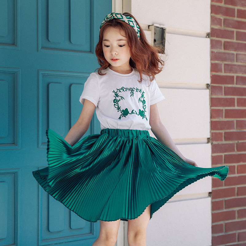 Big Girls Clothing Set Summer Printed White T Shirts Tops Pleated Green Skirt Suits 2 Pieces Kids Clothes Baby Clothing Set chamsgend summer kids cute baby girls vest pleated dress two pieces set clothes children skirt suit jan7 s25