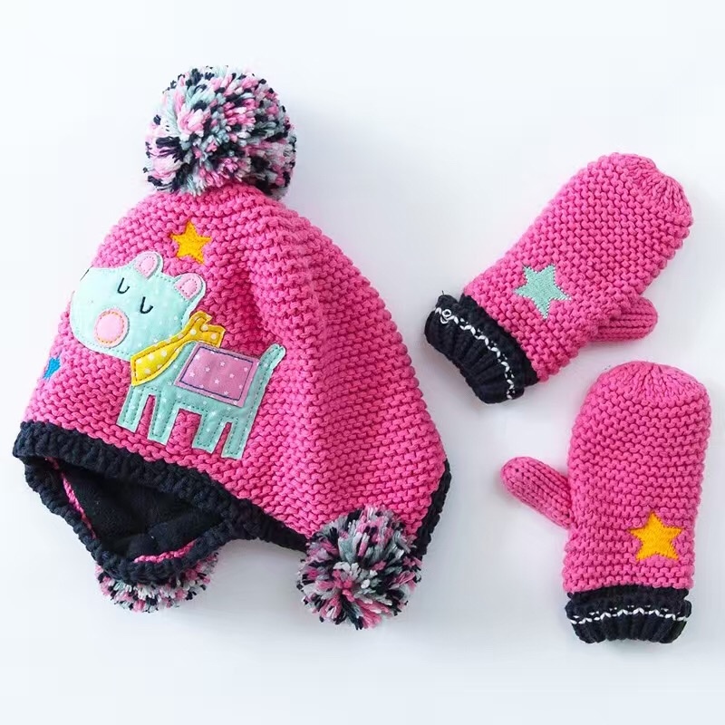Hot Pink Cartoon Cotton Baby Hat +Gloves Set Embroidery Crochet Baby Beanies Kids Fall Winter Cap Handmade Windproof Earmuff Cap