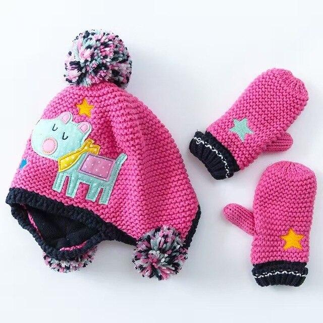1ac7e170ac6 Hot Pink Cartoon Cotton Baby Hat +Gloves Set Embroidery Crochet Baby  Beanies Kids Fall Winter Cap Handmade Windproof Earmuff Cap