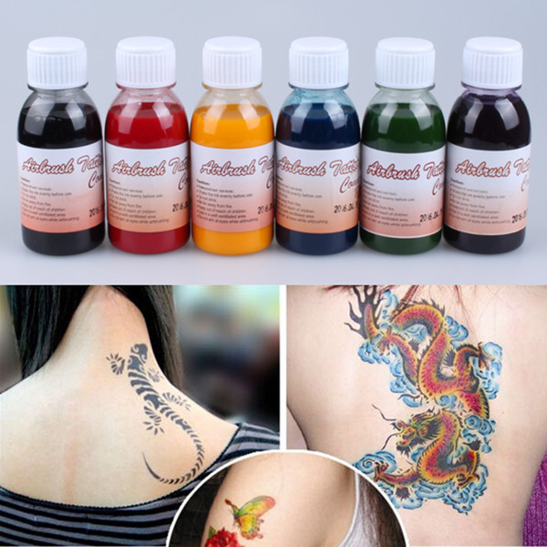 3 Bottles Black Ink Temporary Pigment Airbrush Tattoo Common For Body Art Paint Makeup High Quality Tattoo Supplies цена