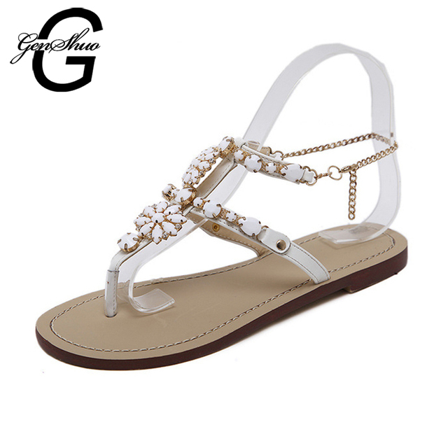 ddaf84c4cd21e GENSHUO Anklet Chains Sandals Women Shoes Summer Flat Sandals Bohemian  Style Buckle Strap Crystal Feminino Big Size 45 46