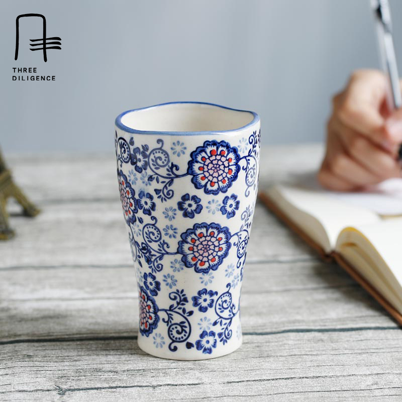 Novelty Coffee Mug Flowerful Ceramic Cupugs Large An Style Mugs Funny Travel Cups Bottles Set Jingdezhen