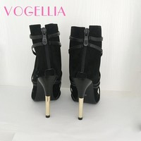 2018 New Fashion Woman Faux Suede Pumps Sexy Open Toe Ankle Boots Slip On Deep V Cut High Heel Lady Autumn Shoes 5