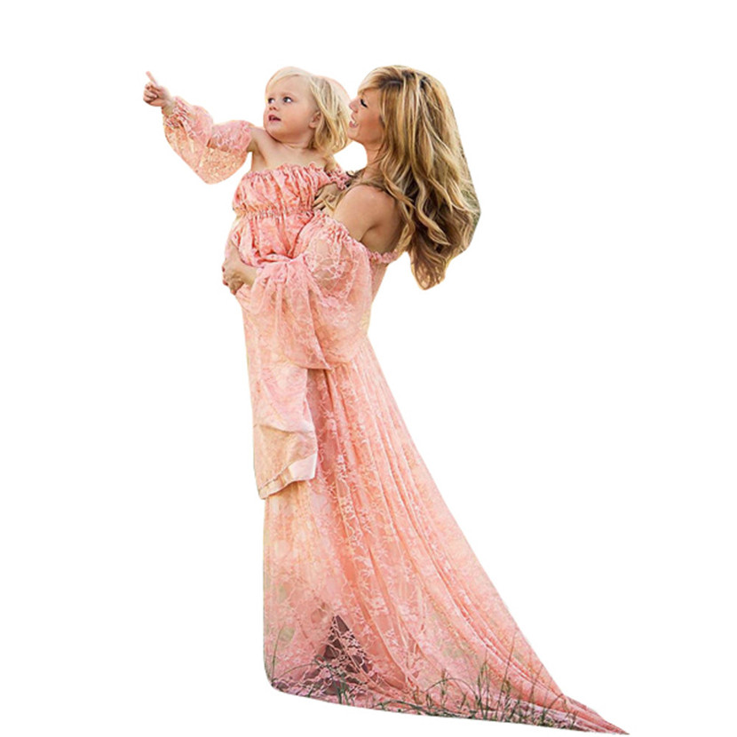 Womail Women Pregnants Sexy Photography Props full sleeve Dress Off Shoulders Lace Nursing Long Dress Gift Feb 6 Drop Ship t516