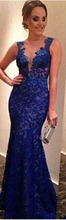2014 Sexy Chapel Train Satin Sweetheart Beadings and Crystals Royal Blue Evening Dresses Prom
