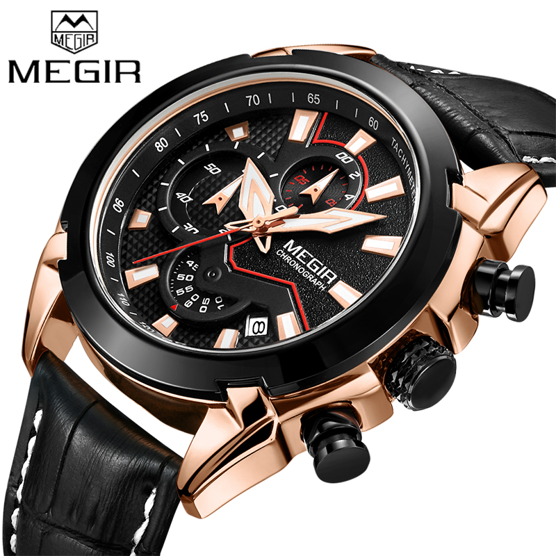 Watches Men MEGIR Men Chronograph Quartz Watches Genuine Leather Army Military Clock Male Sport Wrist watch Relogio Masculino brand military relogio masculino shark sport watch men erkek kol saati chronograph leather band clock wrist quartz watch sh253