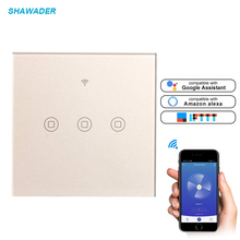 Wifi Smart Touch Wall Switch 1/2/3 Way AC Light Switch App Remote Control Wireless Voice Control Work with Alexa Google Home s05 lemaic wifi smart home timing voice remote control switch light wall us 3 gang for app control touch switch work with alexa