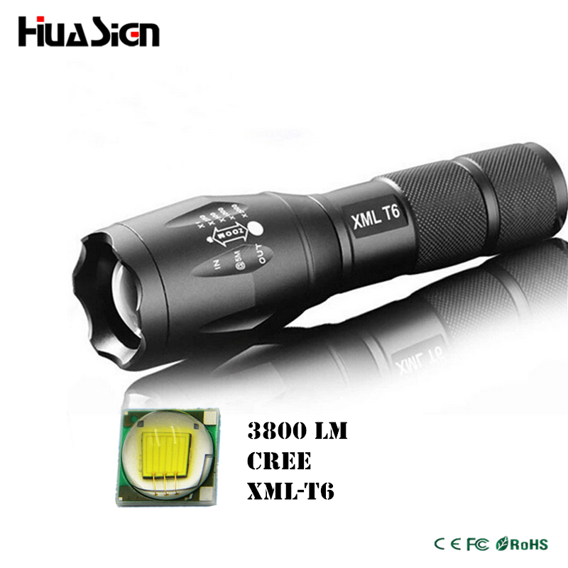 Ultra bright 5 mode cree xml t6 3800lm zoomable led flashlight waterproof torch lights bike light