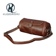 New High Quality Vintage Casual Crazy Horse Leather  Men Bag Small Round Messenger Bags For Man Personality Design Travel Bag стоимость