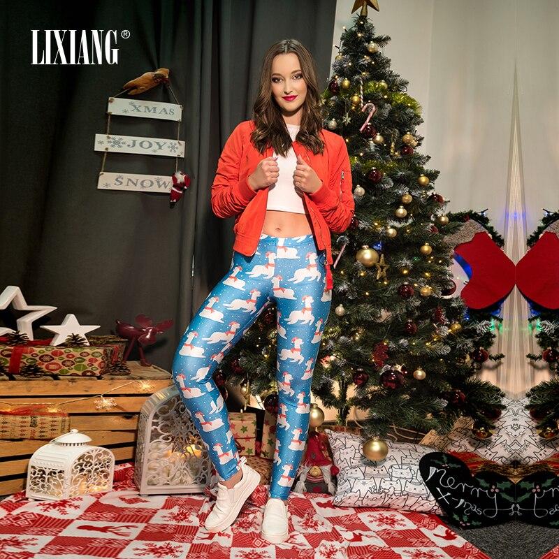 2018 Christmas Santa Style Leggings Women Snow Llama  Printed Sporting Leggings Elastic Quick Dry Slim Long Pants